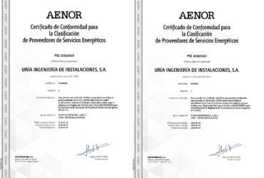 """Uría Ingeniería de Instalaciones S.A., primera empresa Asturiana y segunda a nivel nacional en acreditarse según la UNE-216701 como """"Proveedor de Servicios Energéticos"""""""